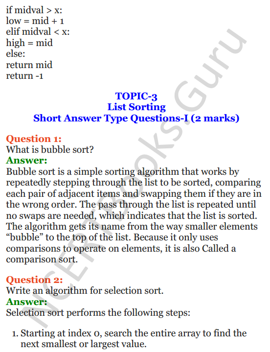 Important Questions for Class 12 Computer Science (Python) chapter - 3 – Lists Manipulation and Implementation 5