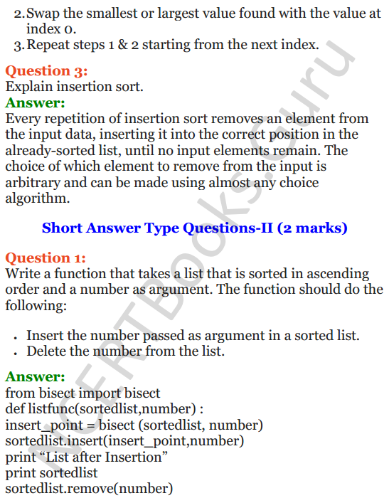 Important Questions for Class 12 Computer Science (Python) chapter - 3 – Lists Manipulation and Implementation 6