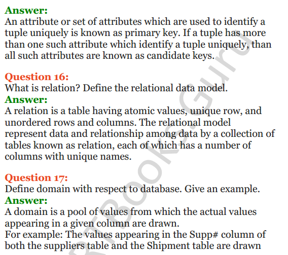 Important Questions for Class 12 Computer Science (Python) Chapter - 6 – Database Concepts 11