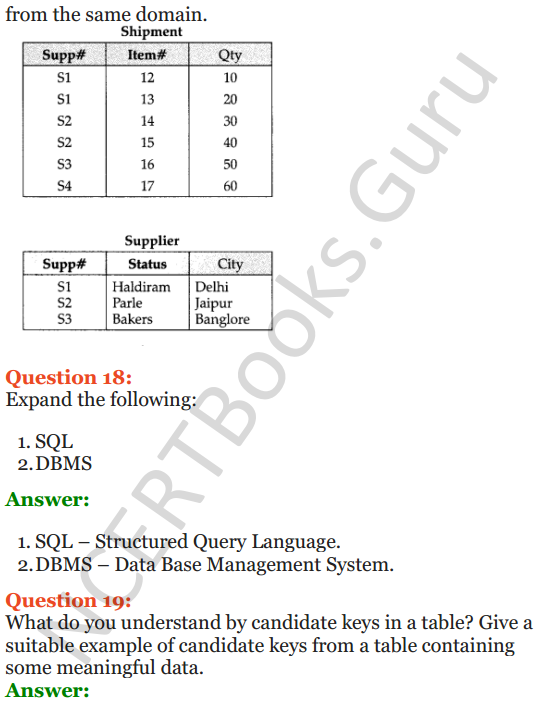 Important Questions for Class 12 Computer Science (Python) Chapter - 6 – Database Concepts 12