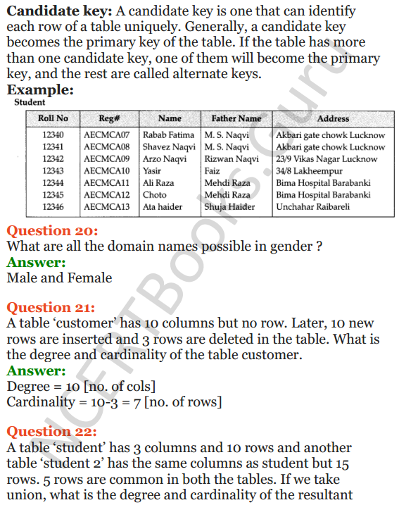 Important Questions for Class 12 Computer Science (Python) Chapter - 6 – Database Concepts 13
