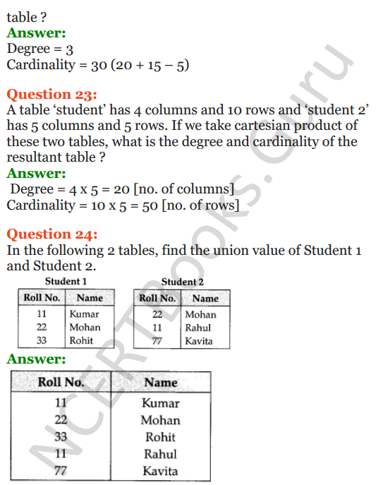 Important Questions for Class 12 Computer Science (Python) Chapter - 6 – Database Concepts 14