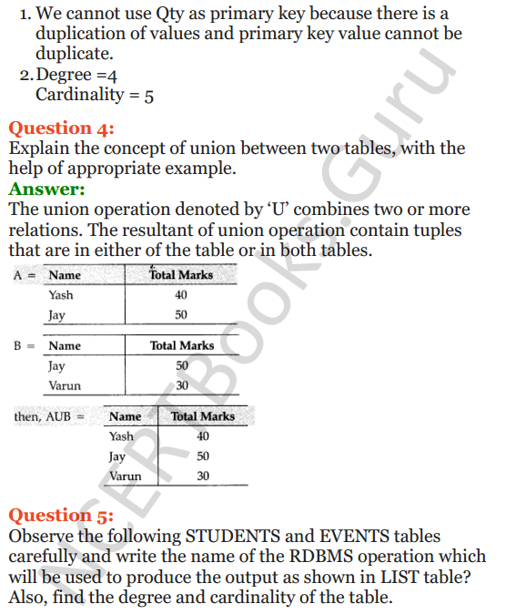 Important Questions for Class 12 Computer Science (Python) Chapter - 6 – Database Concepts 3