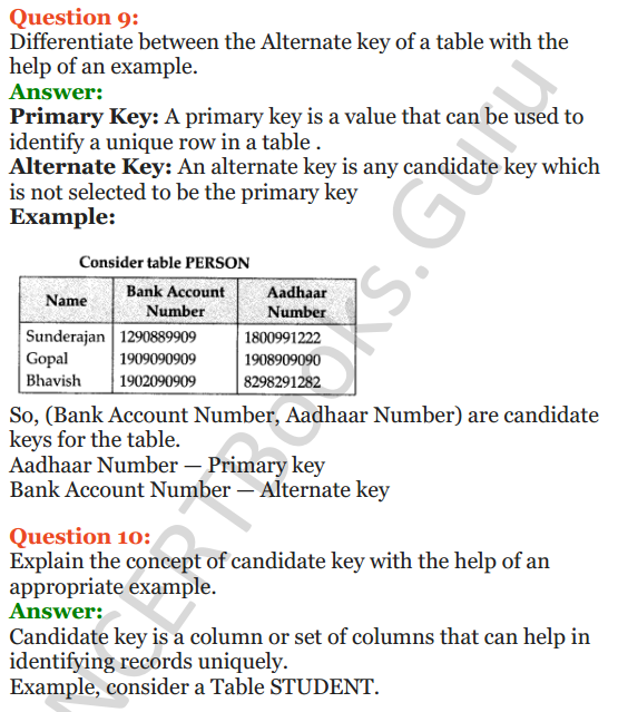 Important Questions for Class 12 Computer Science (Python) Chapter - 6 – Database Concepts 7