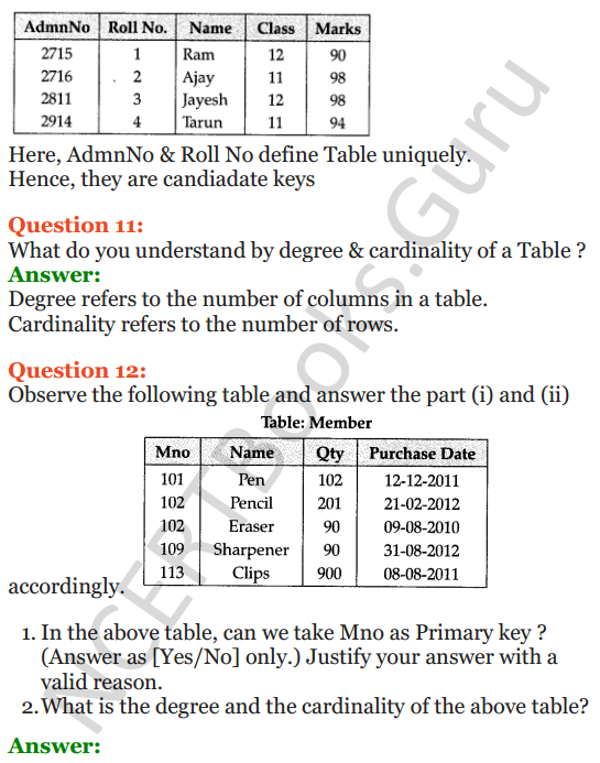 Important Questions for Class 12 Computer Science (Python) Chapter - 6 – Database Concepts 8