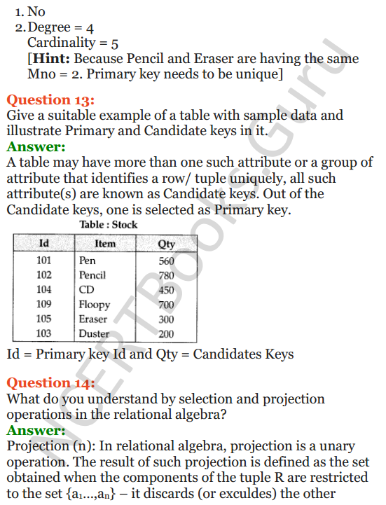 Important Questions for Class 12 Computer Science (Python) Chapter - 6 – Database Concepts 9