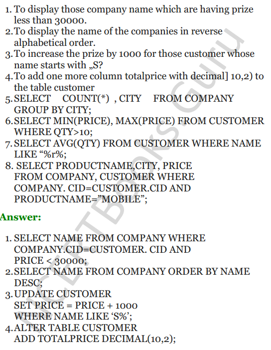 Important Questions for Class 12 Computer Science (Python) chapter - 7 – Structured Query Language 10