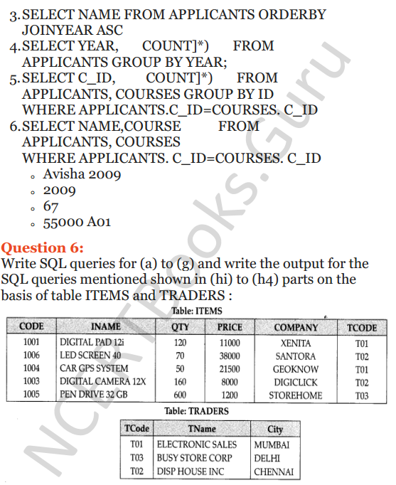 Important Questions for Class 12 Computer Science (Python) chapter - 7 – Structured Query Language 19
