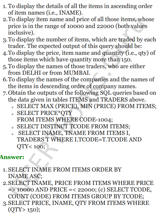 Important Questions for Class 12 Computer Science (Python) chapter - 7 – Structured Query Language 20