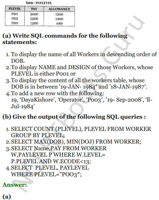 Important Questions for Class 12 Computer Science (Python) chapter - 7 – Structured Query Language 30