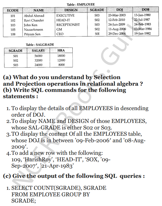 Important Questions for Class 12 Computer Science (Python) chapter - 7 – Structured Query Language 32