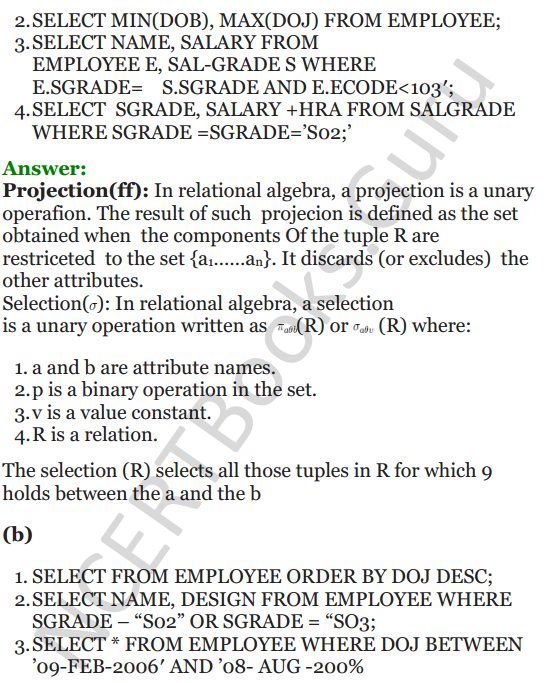 Important Questions for Class 12 Computer Science (Python) chapter - 7 – Structured Query Language 33