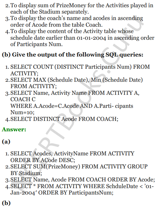 Important Questions for Class 12 Computer Science (Python) chapter - 7 – Structured Query Language 37