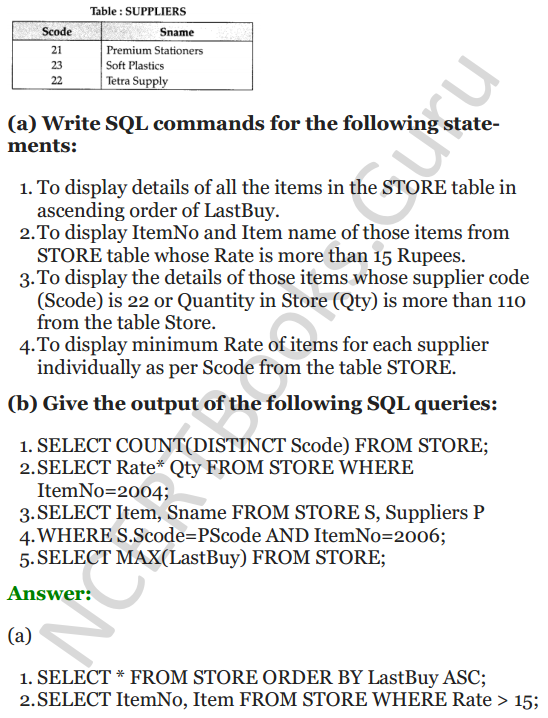 Important Questions for Class 12 Computer Science (Python) chapter - 7 – Structured Query Language 41