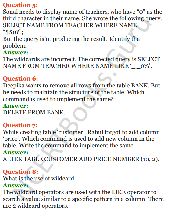 Important Questions for Class 12 Computer Science (Python) chapter - 7 – Structured Query Language 8