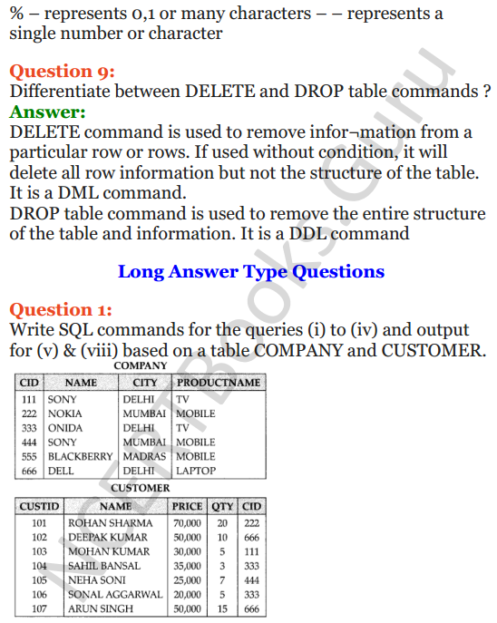 Important Questions for Class 12 Computer Science (Python) chapter - 7 – Structured Query Language 9
