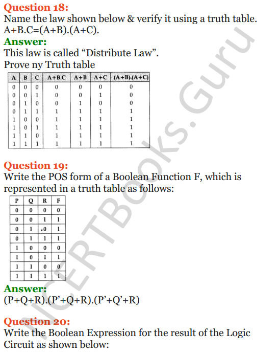 Important Questions for Class 12 Computer Science (Python) Chapter - 8 – Boolean Algebra 11