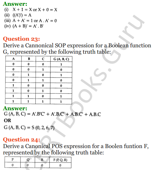 Important Questions for Class 12 Computer Science (Python) Chapter - 8 – Boolean Algebra 13