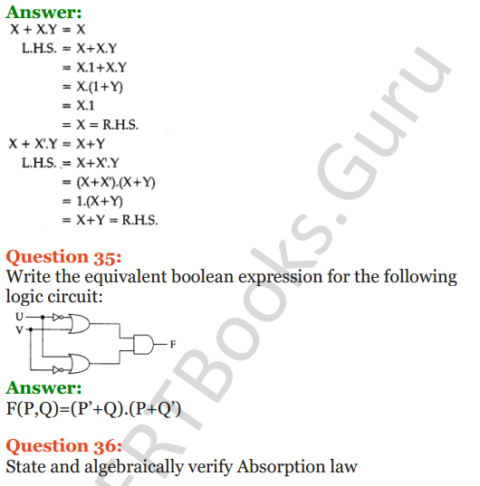 Important Questions for Class 12 Computer Science (Python) Chapter - 8 – Boolean Algebra 19