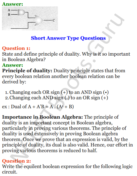 Important Questions for Class 12 Computer Science (Python) Chapter - 8 – Boolean Algebra 3