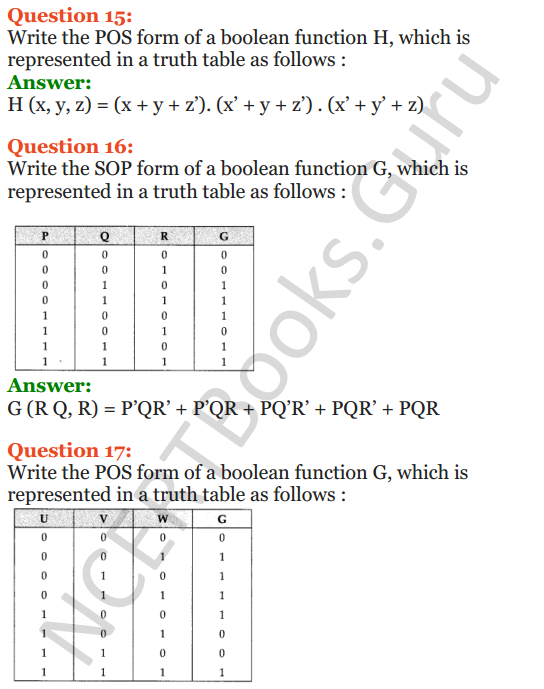 Important Questions for Class 12 Computer Science (Python) Chapter - 8 – Boolean Algebra 32
