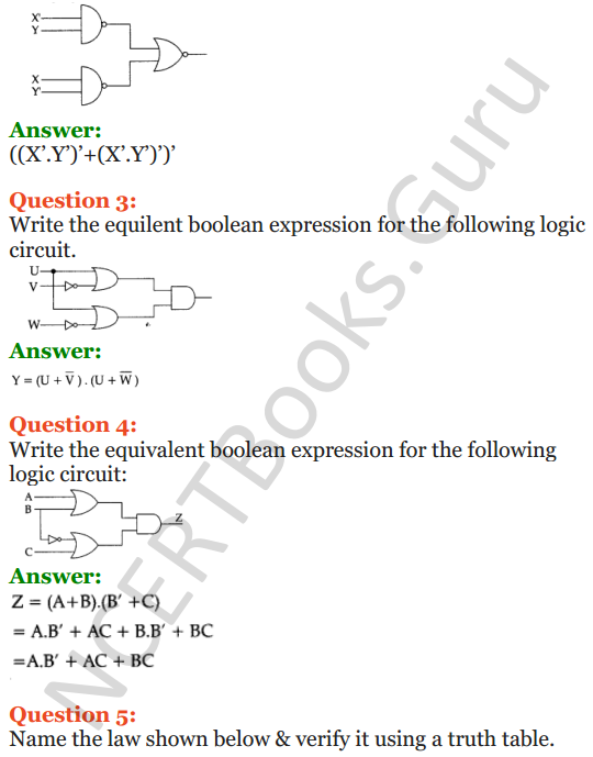 Important Questions for Class 12 Computer Science (Python) Chapter - 8 – Boolean Algebra 4