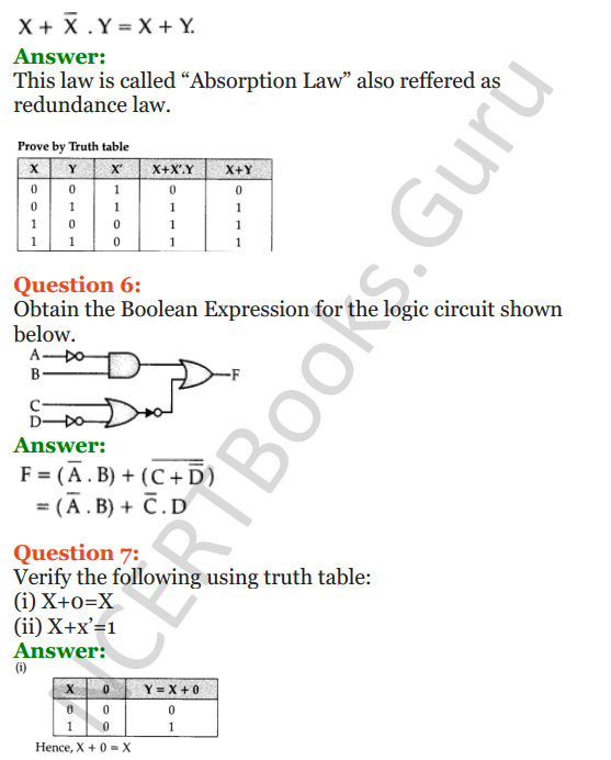 Important Questions for Class 12 Computer Science (Python) Chapter - 8 – Boolean Algebra 5