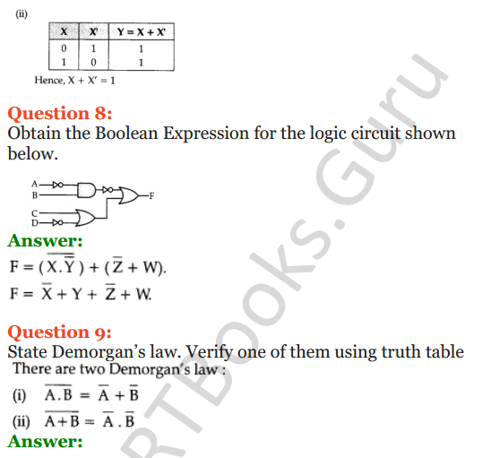 Important Questions for Class 12 Computer Science (Python) Chapter - 8 – Boolean Algebra 6