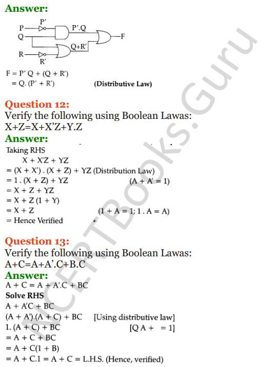 Important Questions for Class 12 Computer Science (Python) Chapter - 8 – Boolean Algebra 8