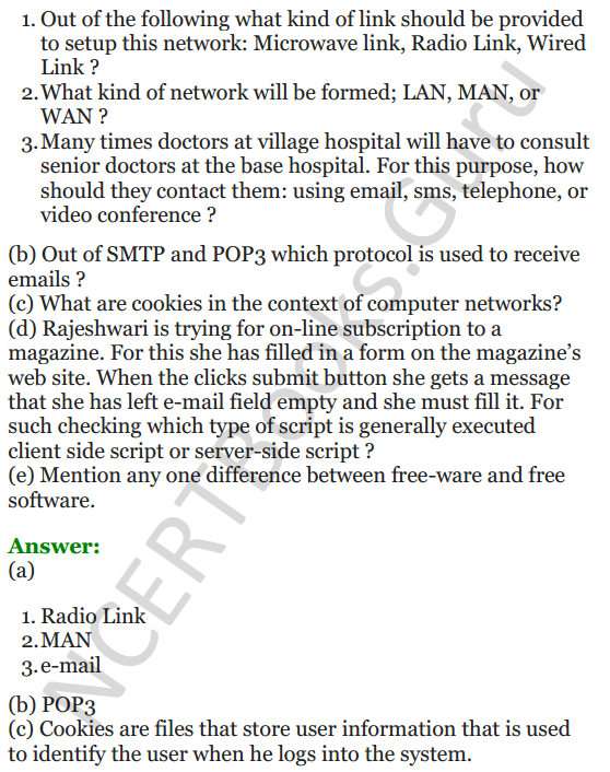 Important Questions for Class 12 Computer Science (Python) Chapter - 9 – Networking and Open Source Concepts 37