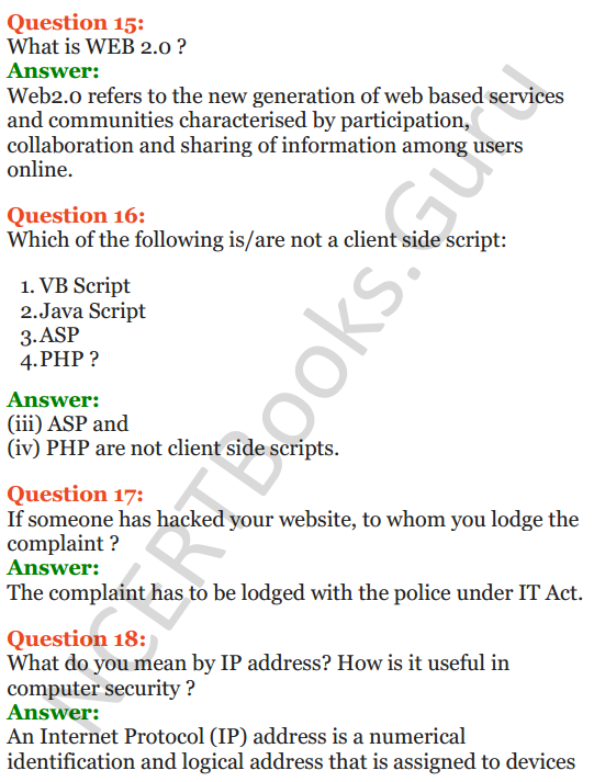 Important Questions for Class 12 Computer Science (Python) Chapter - 9 – Networking and Open Source Concepts 54