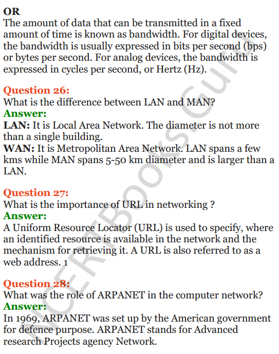 Important Questions for Class 12 Computer Science (Python) Chapter - 9 – Networking and Open Source Concepts 9