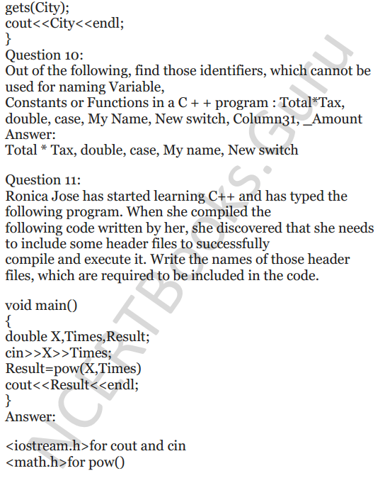 NCERT Solutions for Class 12 Computer Science (C++) Chapter - 1 – C++ Revision Tour 16