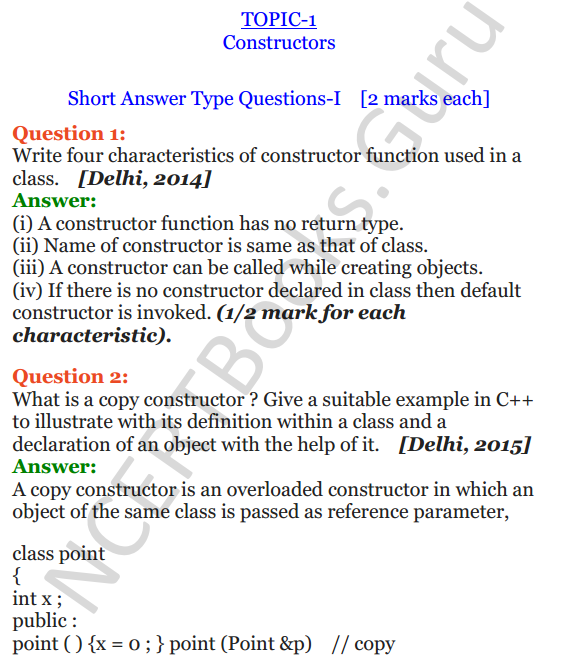 Top Five Questions On Constructor And Destructor In C++ Class 12