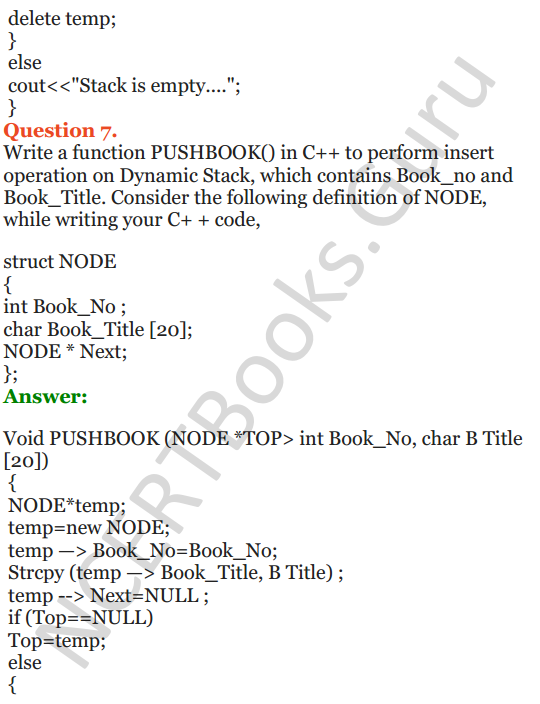 NCERT Solutions for Class 12 Computer Science (C++) Chapter - 9 – Stack 34
