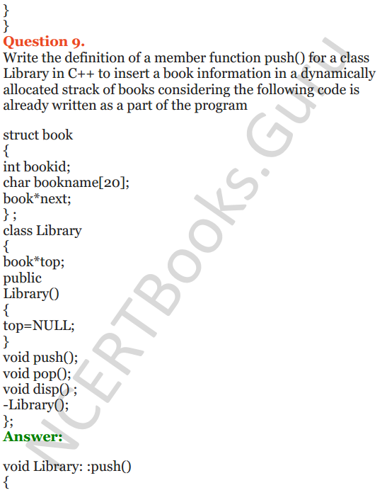 NCERT Solutions for Class 12 Computer Science (C++) Chapter - 9 – Stack 36
