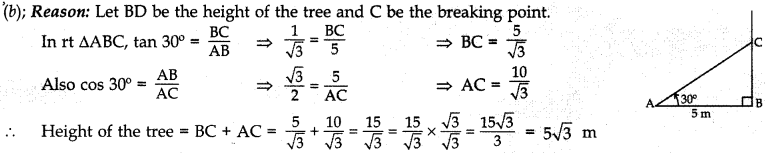 MCQ Questions for Class 10 Maths Application of Trigonometry with Answers 16