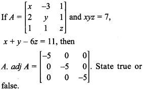 Maths MCQs for Class 12 with Answers Chapter 4 Determinants 20