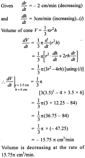 Maths MCQs for Class 12 with Answers Chapter 6 Application of Derivatives 18