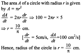 Maths MCQs for Class 12 with Answers Chapter 6 Application of Derivatives 7