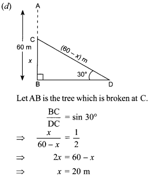 MCQ Questions for Class 10 Maths Application of Trigonometry with Answers 25
