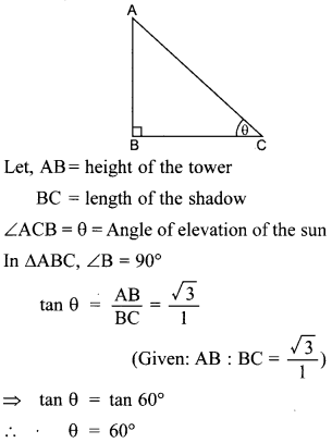 MCQ Questions for Class 10 Maths Application of Trigonometry with Answers 26