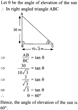 MCQ Questions for Class 10 Maths Application of Trigonometry with Answers 28