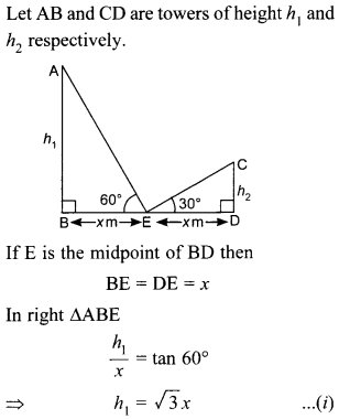 MCQ Questions for Class 10 Maths Application of Trigonometry with Answers 29