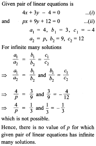 MCQ Questions for Class 10 Maths Pair of Linear Equations in Two Variables with Solutions 14