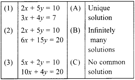 MCQ Questions for Class 10 Maths Pair of Linear Equations in Two Variables with Solutions 4