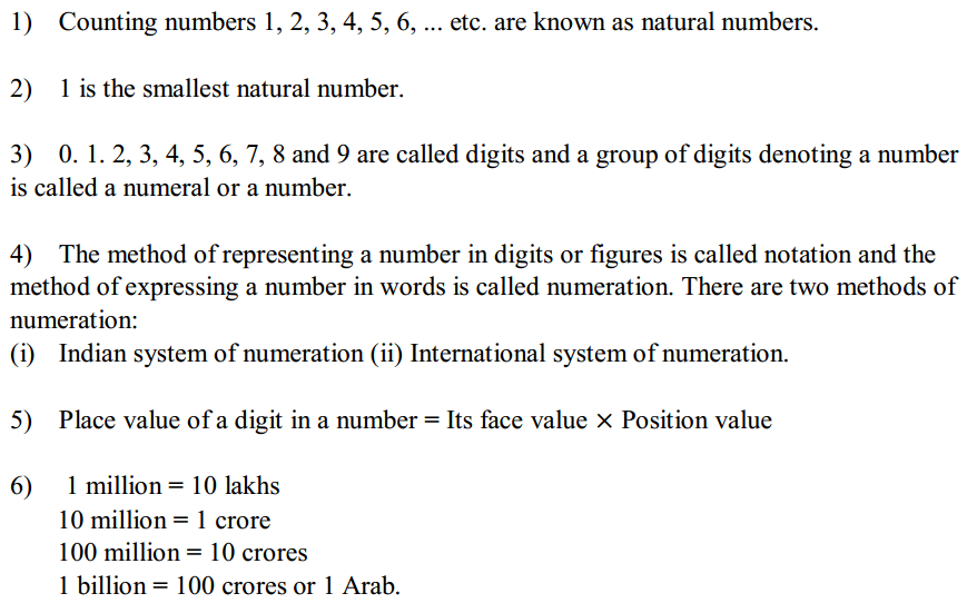 Knowing Our Numbers Formulas for Class 6 Q1