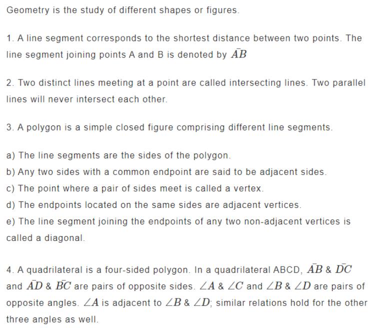 Geometry Formulas for Class 6 Q1