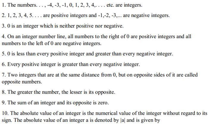 Integers Formulas Formulas for Class 6 Q1