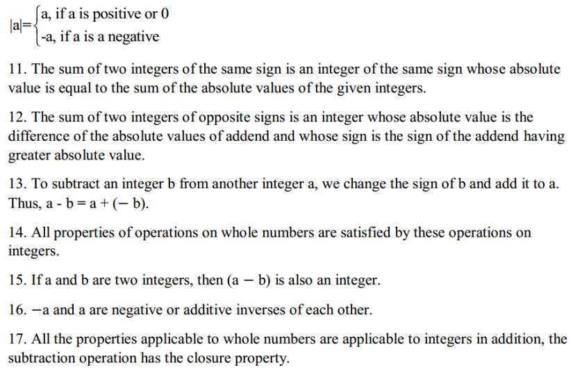 Integers Formulas Formulas for Class 6 Q2